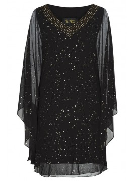 Chiffon Overlay Kaftan Style Dress in Black with Gold Stud