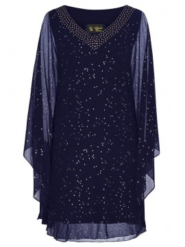 Chiffon Overlay Kaftan Style Dress in Navy with Gold Stud