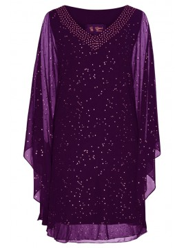 Chiffon Overlay Kaftan Style Dress in Purple with Gold Stud