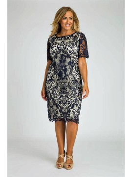 Luxury Lace Dress in Navy
