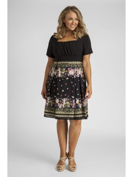Ladies Plus Size Jersey and Chiffon Dress in Floral