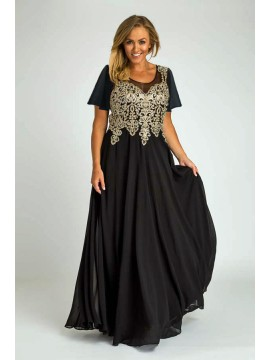 Full Length Chiffon with Gold Lace Bodice Evening Dress