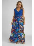 Plus Size Maxi Dress in Blue Butterfly