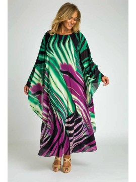 Evelyn Chiffon Overlay Dress in Abstract