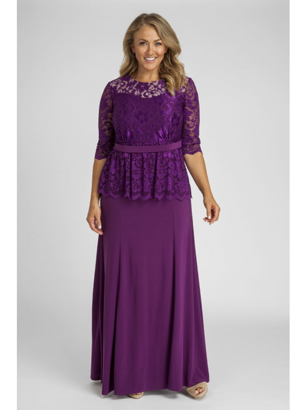 Peplum Lace And Jersey Gown In Purple