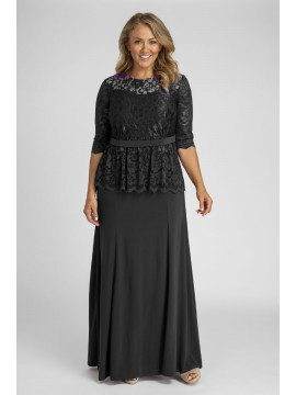 All Star Special Peplum Lace and Jersey Gown in Black