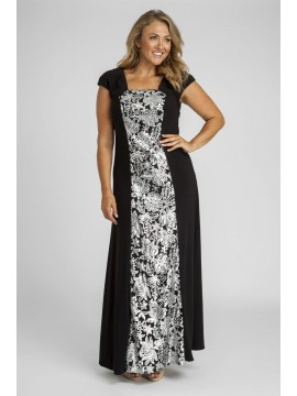 Sequin and Jersey Evening Gown in Silver