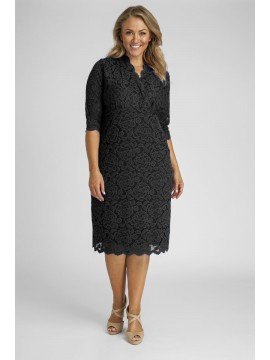 Scalloped Lace Dress in Black