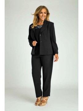 Ladies Plus Size Tailored Pant, Top and Jacket in Black