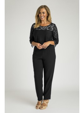 Ladies Plus Size 3/4 Sleeve Lace Top in Black