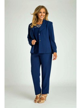 Ladies Plus Size Tailored Pant, Top and Jacket in Blue