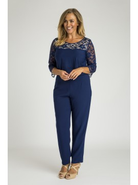 Ladies Plus Size 3/4 Sleeve Lace Top in Blue
