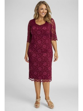 All Star Special Scalloped 3/4 Sleeve Lace Dress in Solid Red
