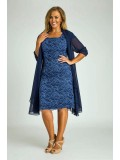 Special Occasion Lace Dress with Chiffon Jacket in Blue