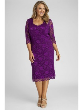 All Star Special Scalloped 3/4 Sleeve Lace Dress in Solid Purple