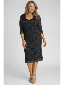 June Special Scalloped 3/4 Sleeve Lace Dress in Solid Black