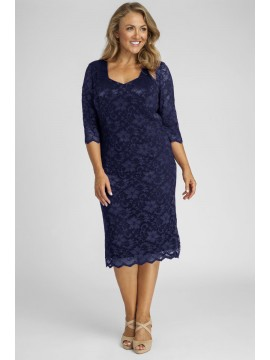 All Star Special Scalloped 3/4 Sleeve Lace Dress in Solid Navy