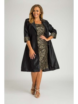 Special Occasion Sequin Lace Dress with Jacket in Black