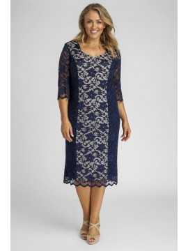 All Star Special Scalloped 3/4 Sleeve Lace Dress in Navy