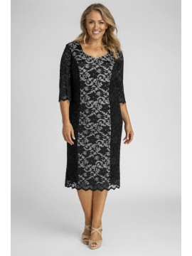 All Star Special Scalloped 3/4 Sleeve Lace Dress in Black