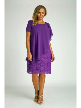 Ladies Plus Size Special Occasion Dress and Chiffon Overlay in Purple