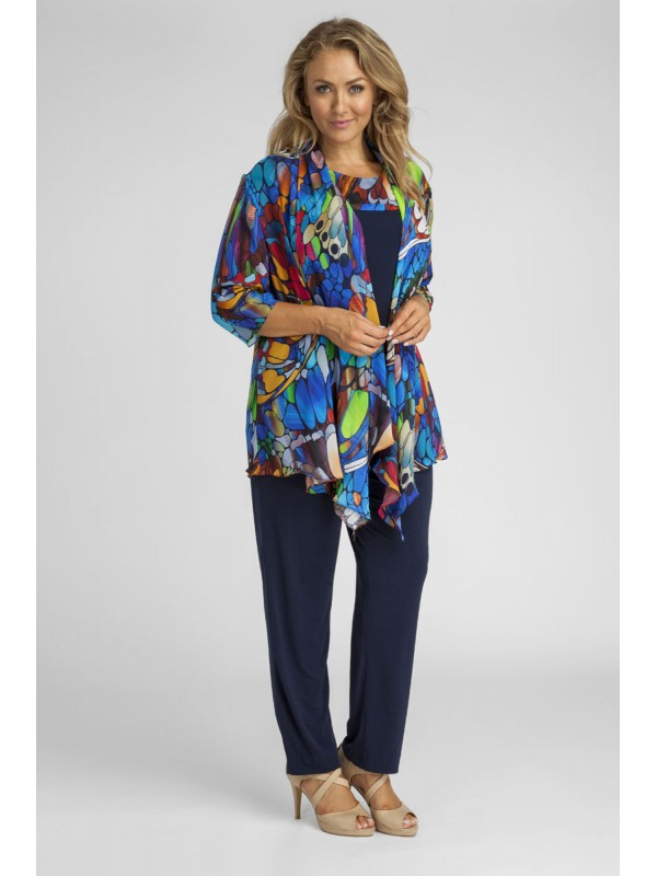 Ladies Plus Size 3 Piece Pant Set In Butterfly Print