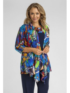Ladies Plus Size Camisole and Jacket Set in Butterfly Print