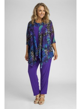 Ladies Plus Size 3 Piece Pant Set in Orchid Print