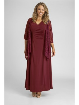 Robin Maxi Plus Size Jersey Dress in Burgundy