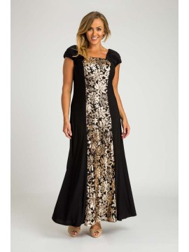 Sequin and Jersey Evening Gown in Gold