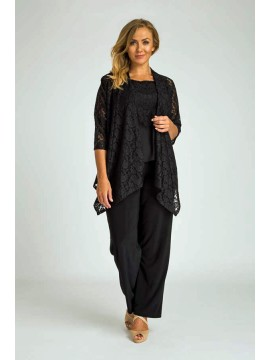 Robin Lace and Jersey Camisole and Jacket Set in Black