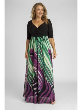 Plus Size 3/4 Sleeve Maxi Dress in Abstract
