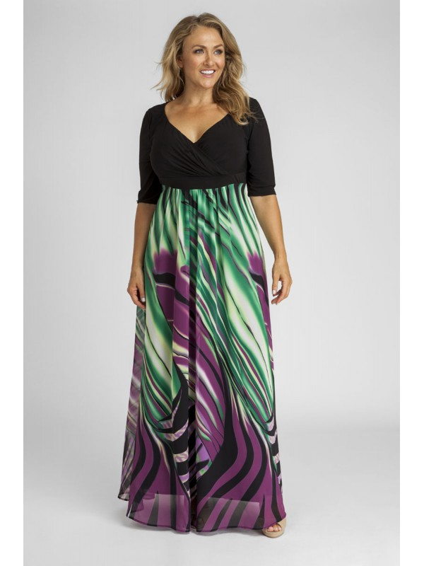 Plus Size 34 Sleeve Maxi Dress in Abstract