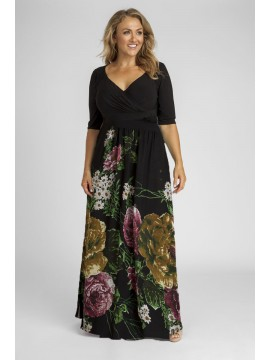 Plus Size 3/4 Sleeve Maxi Dress in Floral