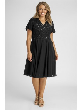 Sparkling Chiffon Special Occasion Dress in Black