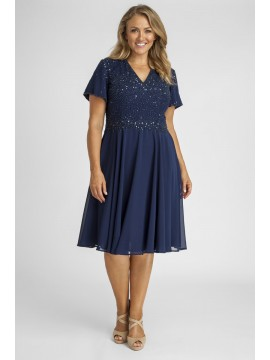 Sparkling Chiffon Special Occasion Dress in Navy