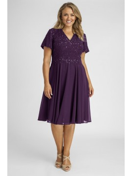 Sparkling Chiffon Special Occasion Dress in Purple