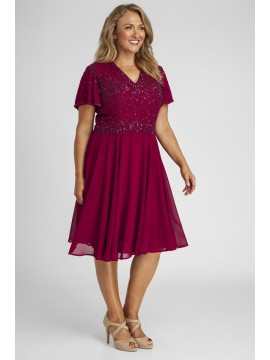Sparkling Chiffon Special Occasion Dress in Red