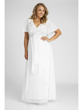 Full Length Chiffon Wedding Dress with Beading in Off White
