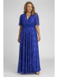 Angelique Lace Gown with Flutter Sleeves in Blue