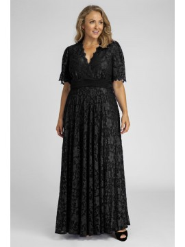 Angelique Lace Gown with Flutter Sleeves in Black