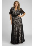 Angelique Lace Gown with Flutter Sleeves in Black with Nude Lining