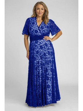 Angelique Lace Gown with Flutter Sleeves in Blue with Nude Lining
