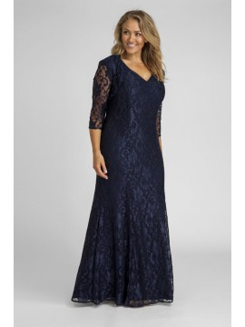 Crystal Studded Lace Evening Gown with Shrug in Navy