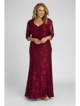 Crystal Studded Lace Evening Gown with Shrug in Red