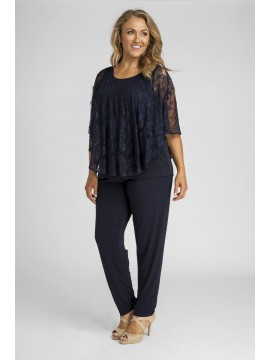 Lace Overlay Top and Pant Set in Navy