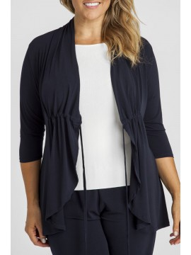 Plus Size Jersey Tie Front Jacket in Navy