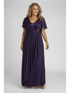 Full Length Mesh Evening Dress in Violet