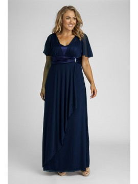 Full Length Mesh Evening Dress in Navy