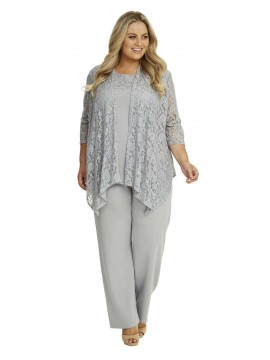 Ladies Plus Size Lace and Jersey 3 Piece Pant Set